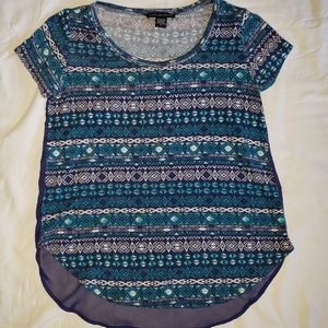 2/$10 American Dream Teal & Navy Tribal Top Size S